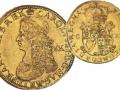 Anverso y reverso de doble corona de oro